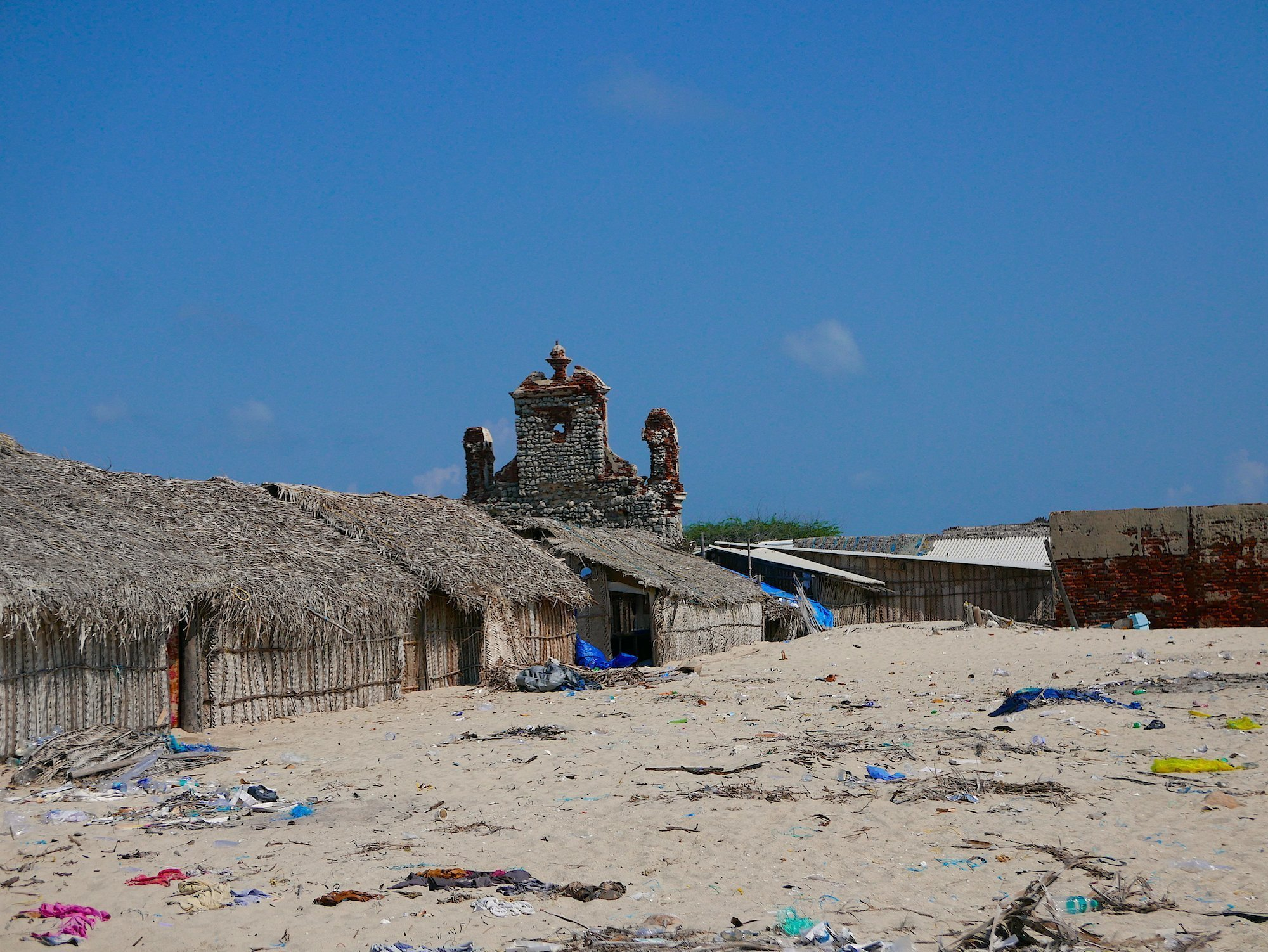 Church & shacks Dhanushkodi