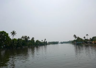 Wide lagoon on the Allepey backwaters Kerala India