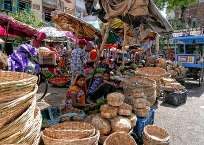 Basket sellers at the market Udaipur