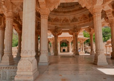 Ceiling and pillars Gaitore Memorials of Kings Jaipur