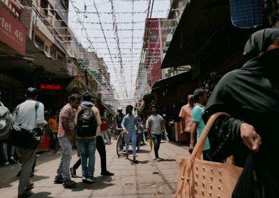 Chandni Chowk market with overhead lines