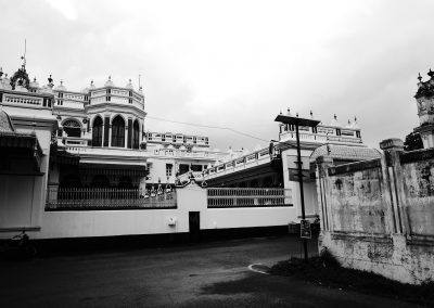 A typical Chettinad house in black and white