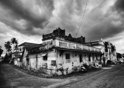 Chettinad house falling into disrepair black and white