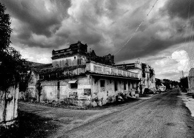 Chettinad house falling into disrepair in a village black and white