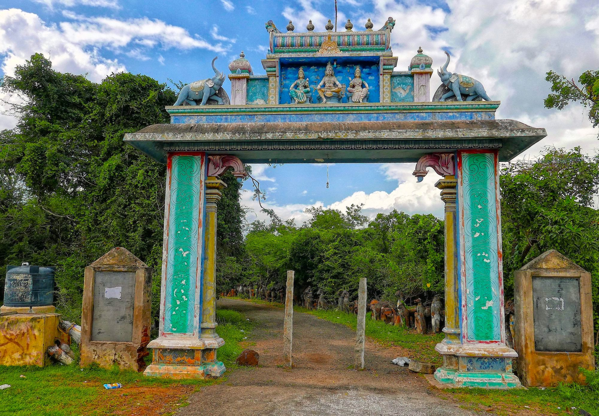 Entrance to Ayyanar shrine in Ellangudipatti Tamil nadu India