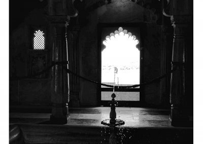 Fountain in the city Palace Udaipur black and white