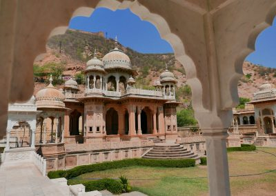 Gaitore Memorials of Kings through archway Jaipur