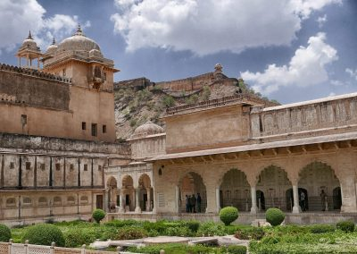 Gardens and ramparts Amber Fort Jaipur.