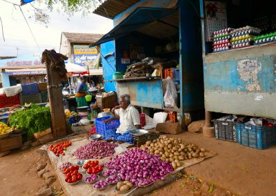 Vegetable seller in a market in Chettinad