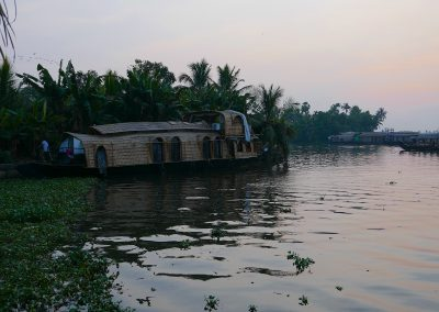 Our Housebaot for the night tied up Alappuzha India