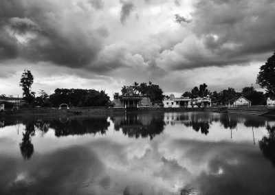 Temple lake Chettinad in black and white