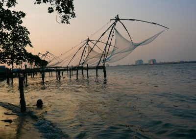 Chinese fishing nets colour Fort Kochi