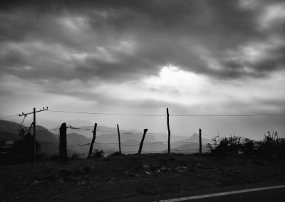 Fence view of western ghats Munnar bw