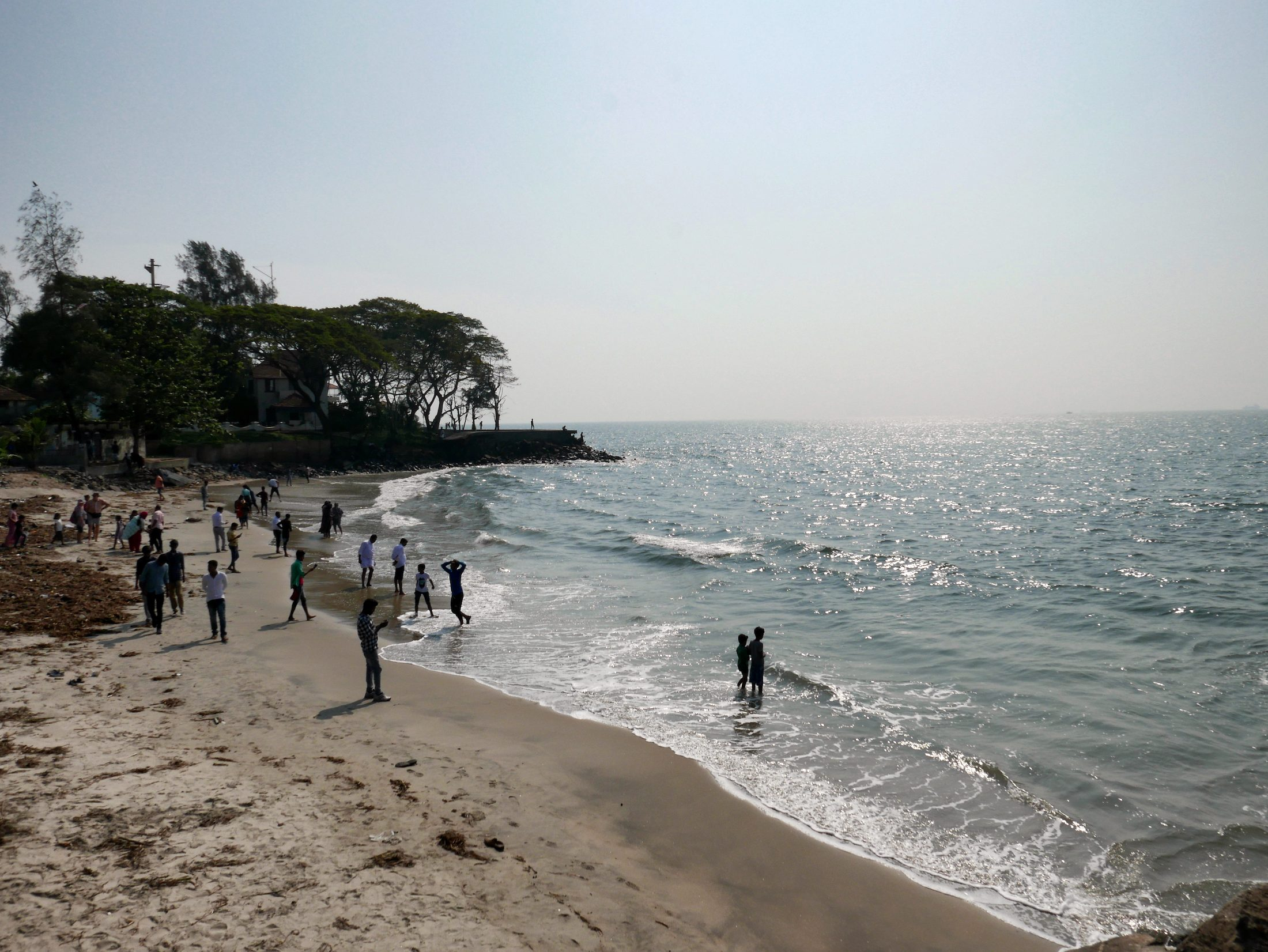 Kids in the sea at Fort Kochi