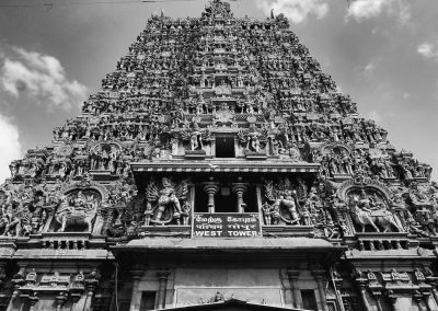 Madurai Menakshi Temple West tower bw