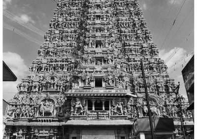 Madurai Temple from Street bw