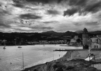 Clock tower and chateau view Collioure